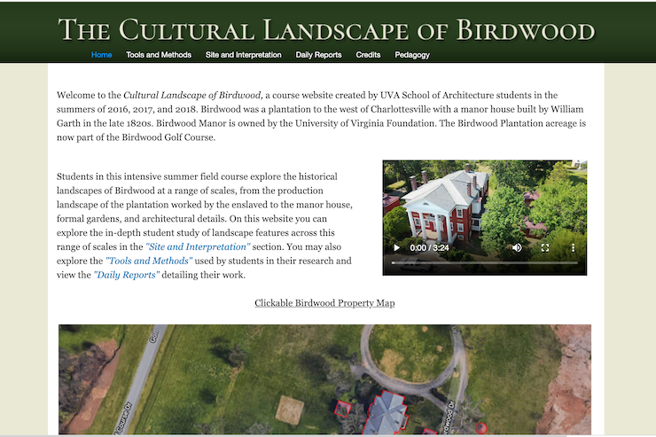 Screenshot showing the website of The Cultural Landscape of Birdwood