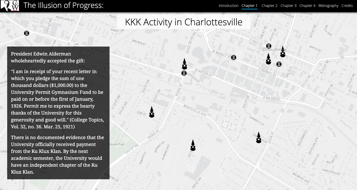 Screenshot showing the website of Illusion of Progress: Charlottesville's Roots in White Supremacy