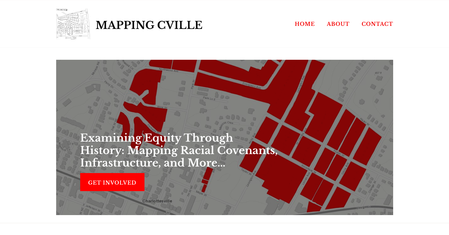 Screenshot showing the Mapping Cville website