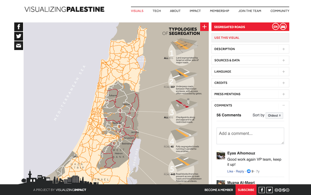 Screenshot showing the Visualizing Palestine website