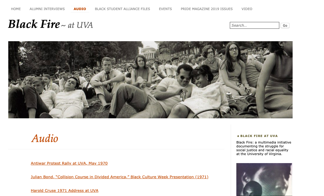 Screenshot showing the Black Fire at UVA website