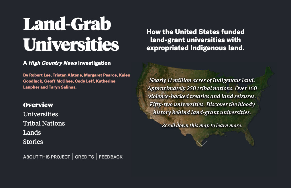 Screenshot showing the Land Grab Universities website