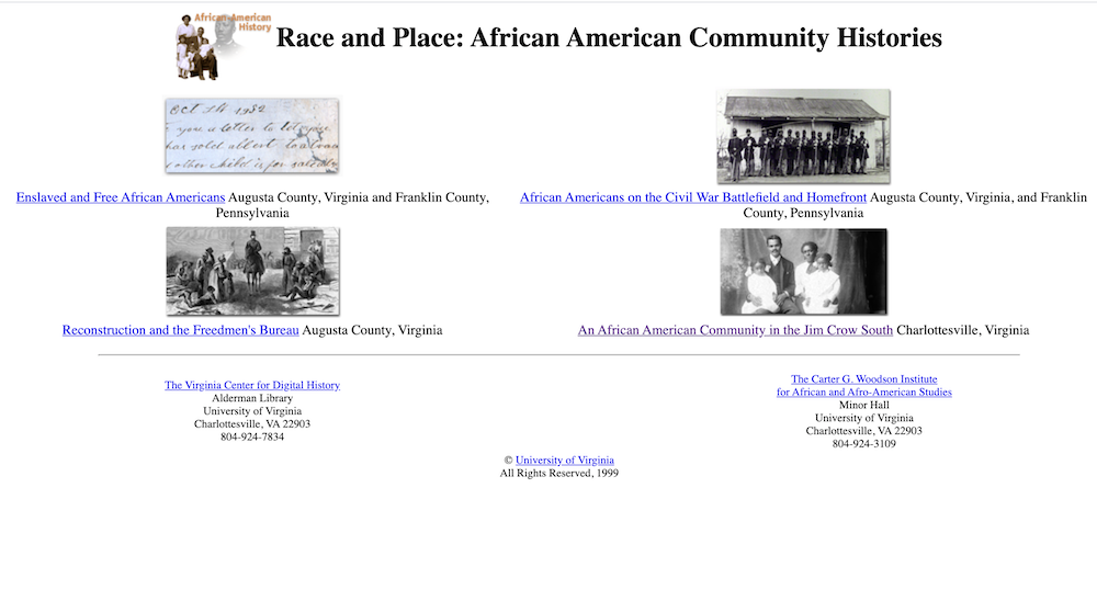 Screenshot showing the website of Race and Place: African American Community Histories